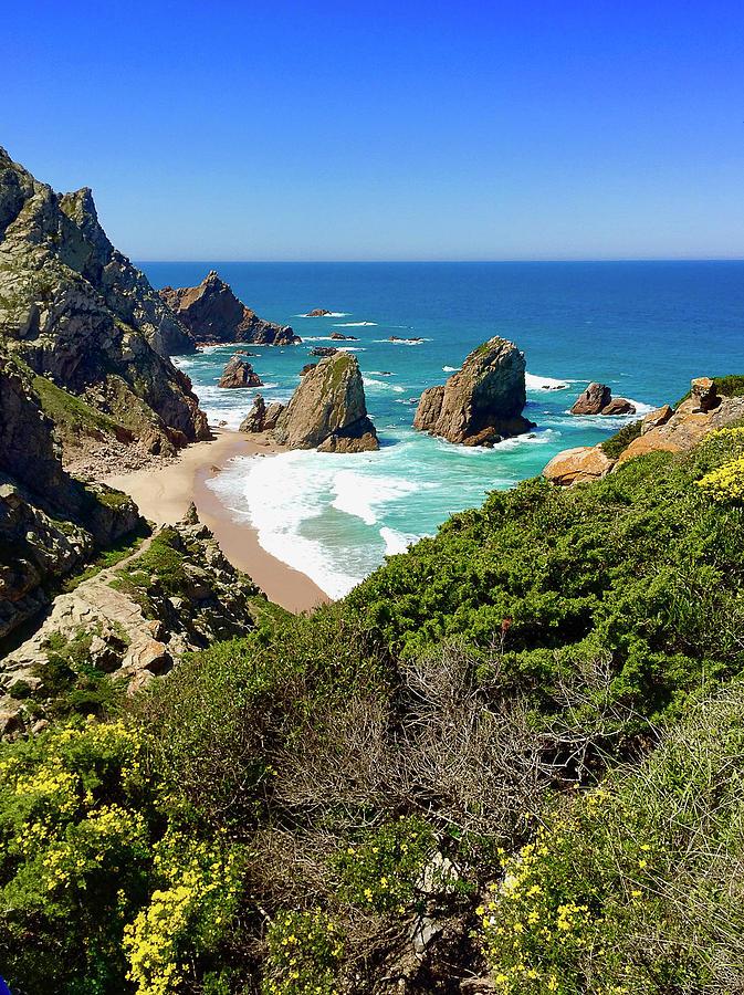 Beach Photograph - Dramatic Coastline And Beach - Portugal by Connie Sue White