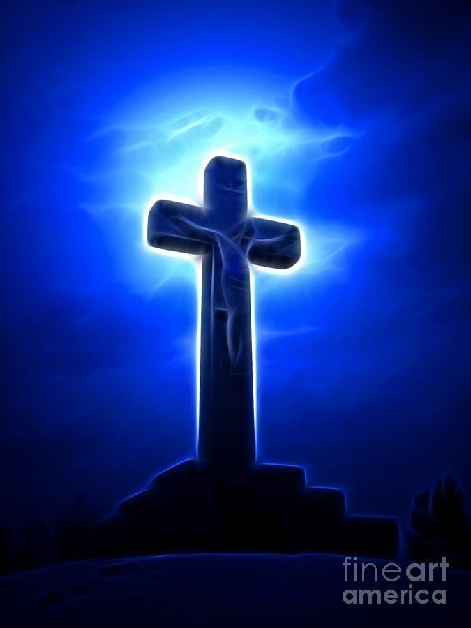 Jesus Crucifixion Mixed Media - Dramatic Jesus Crucifixion by Pamela Johnson