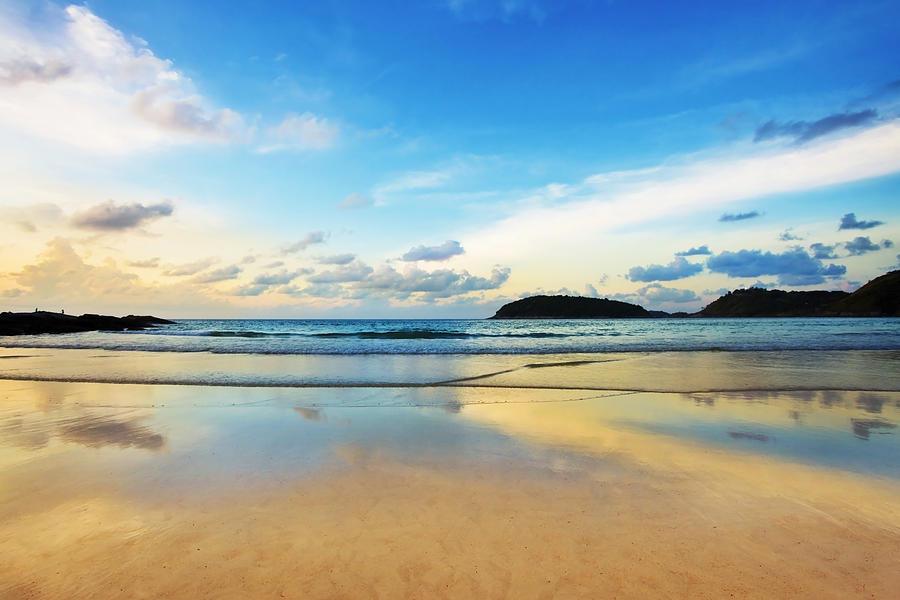 Area Photograph - Dramatic Scene Of Sunset On The Beach by Setsiri Silapasuwanchai