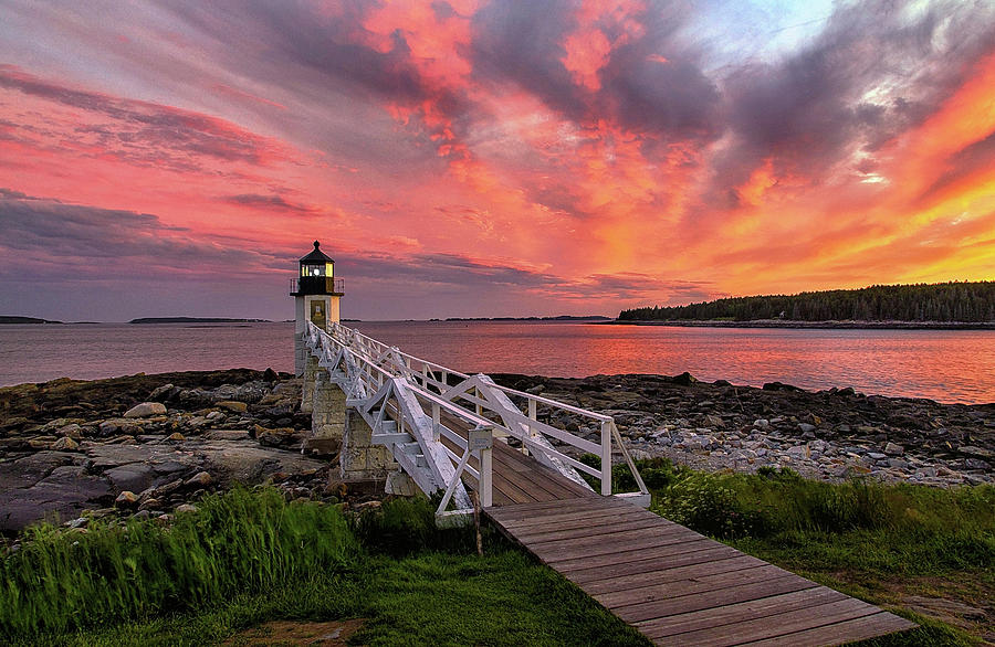 Dramatic Sunset at Marshall Point Lighthouse by John Vose