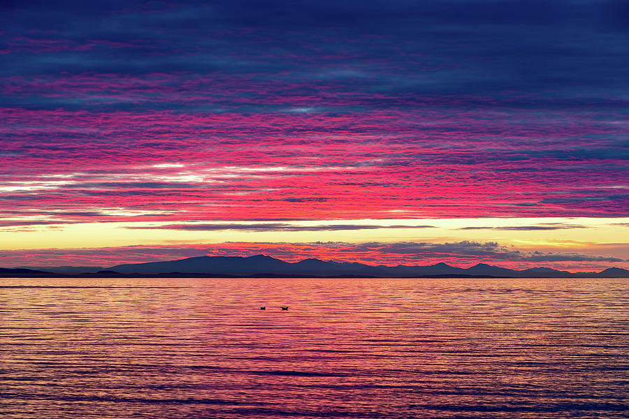 Birch Bay Photograph - Dramatic Sunset Colors Over Birch Bay by David Gn