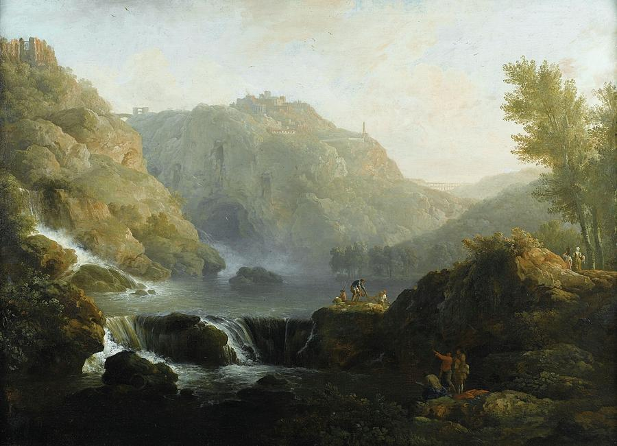 Hill Painting - Draughtsmen In Front Of A Waterfall by MotionAge Designs