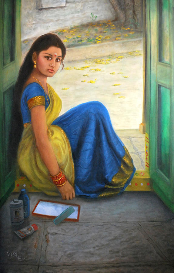 Dravidian Beauty Painting By Vishalandra Dakur