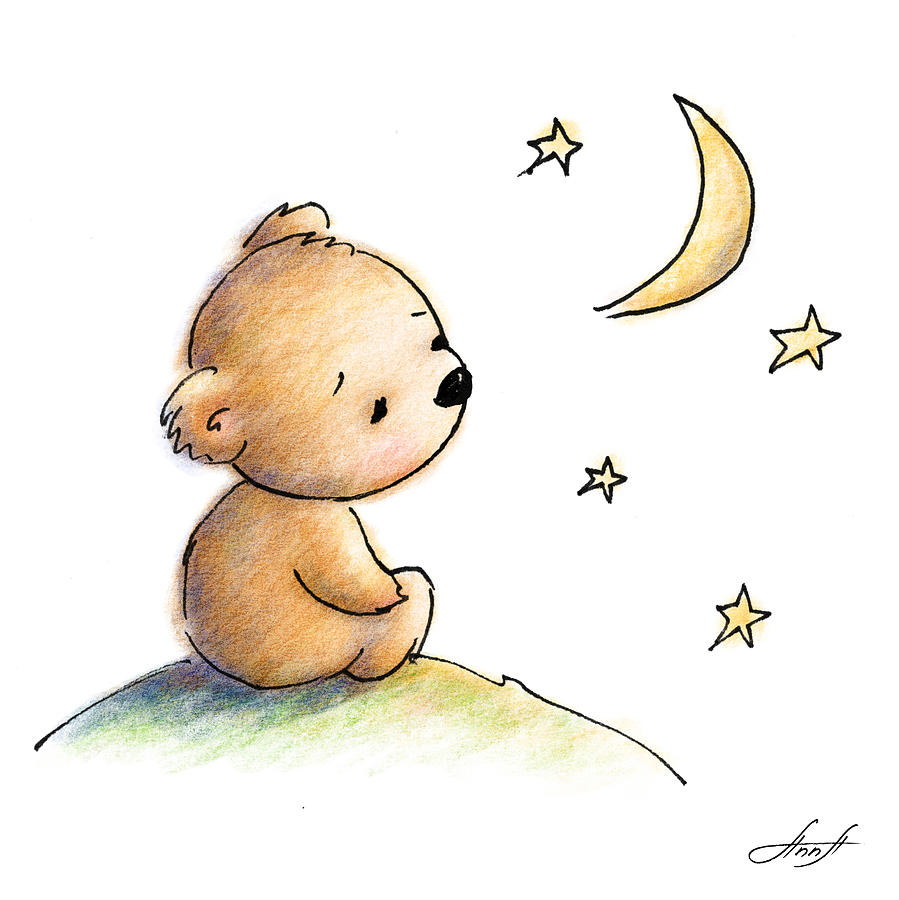 Drawing of cute teddy bear watching the star digital art by anna adorable digital art drawing of cute teddy bear watching the star by anna abramska altavistaventures Image collections