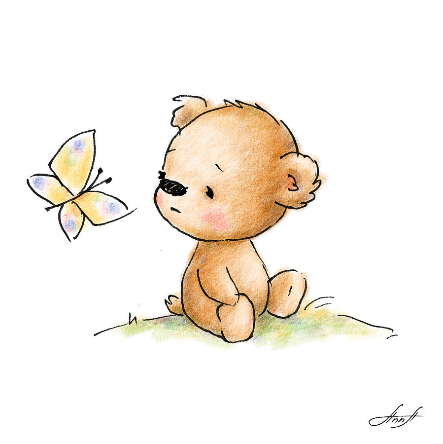 Drawing Of Cute Teddy Bear With Butterfly Digital Art by ...