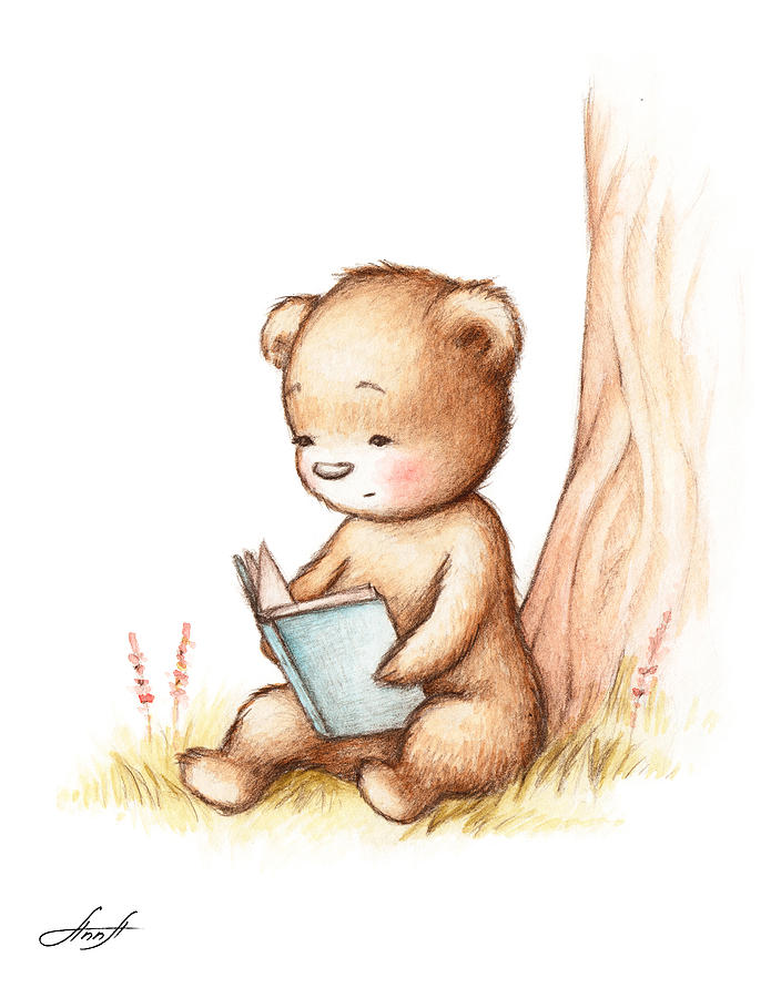 drawing of teddy bear reading a book under tree painting by anna