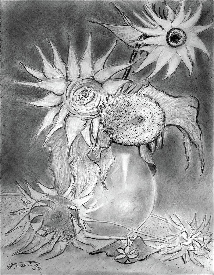 Drawing Of Vincents Still Life - Vase With 5 Sunflowers Drawing