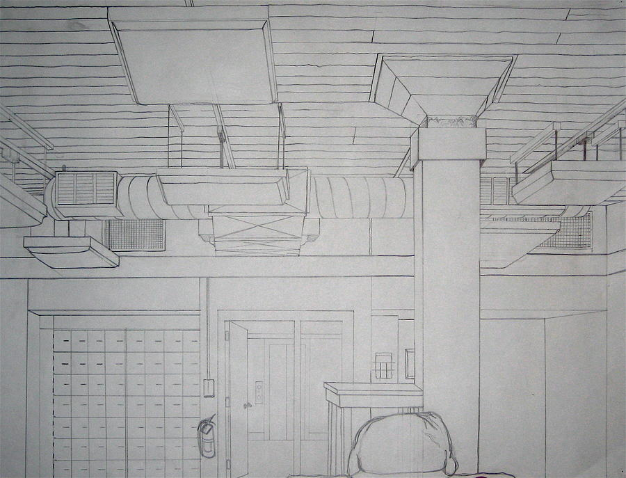 Rafters Drawing - Drawing Room by Abigail Kelley