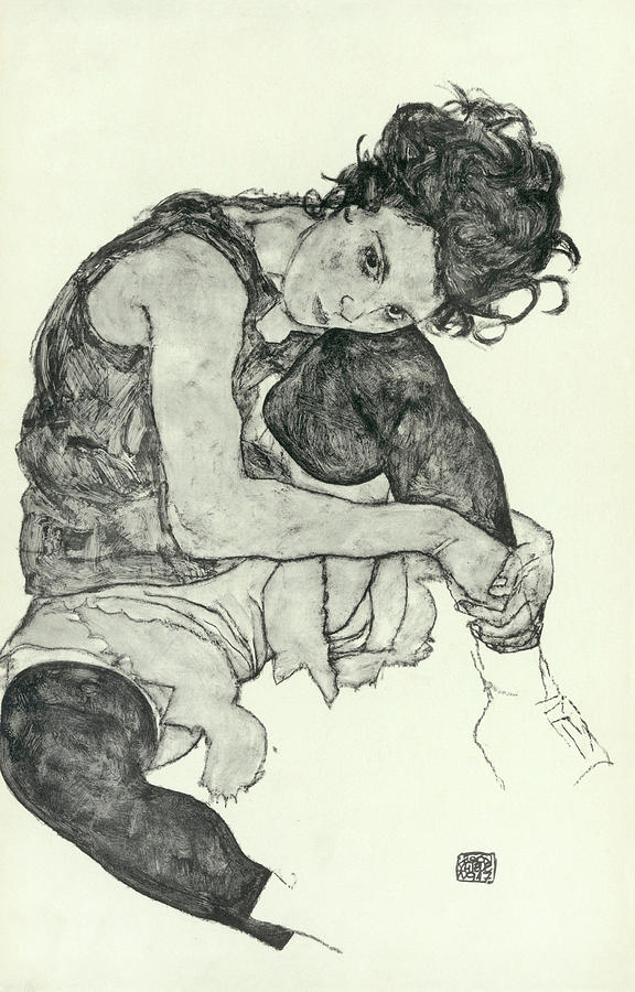 Young Girl Painting - Drawings I by Egon Schiele