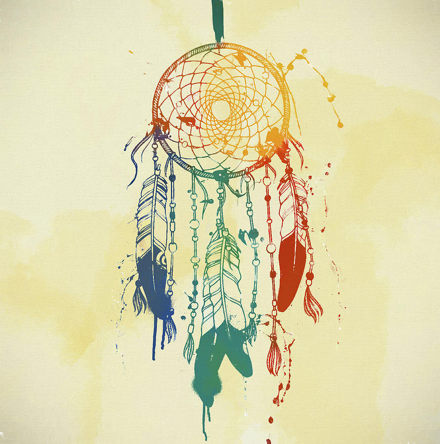 Dream Catcher Watercolor Mixed Media by Dan Sproul