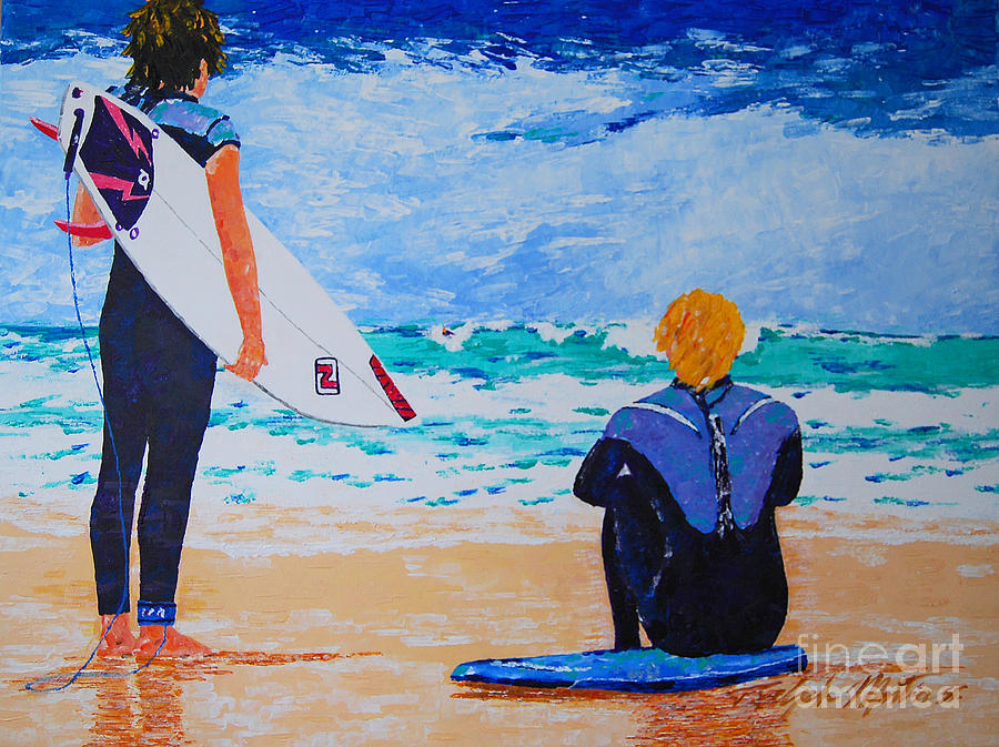 Beach Scene Painting - Dream Chasers  by Art Mantia