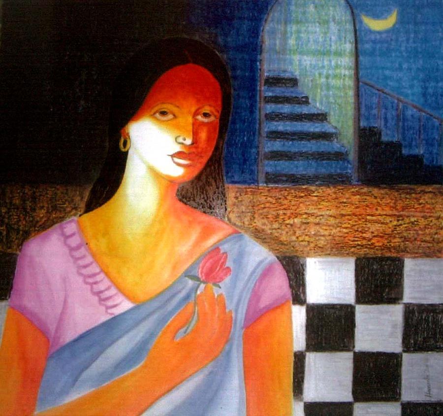 Woman Painting - Dream by Hemanta Sur
