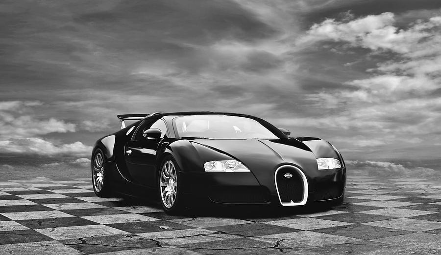 Bugatti Digital Art - Dream Machine Bw by Peter Chilelli