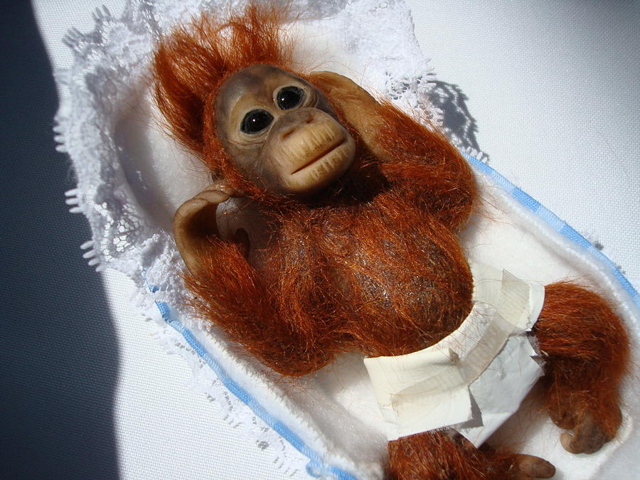 Ooak Mixed Media - Dream Monkeys - Baby Orangutan by Gypsie Moe