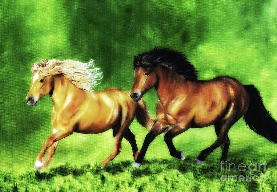 Icelandic Horses Painting - Dream Team by Shari Nees