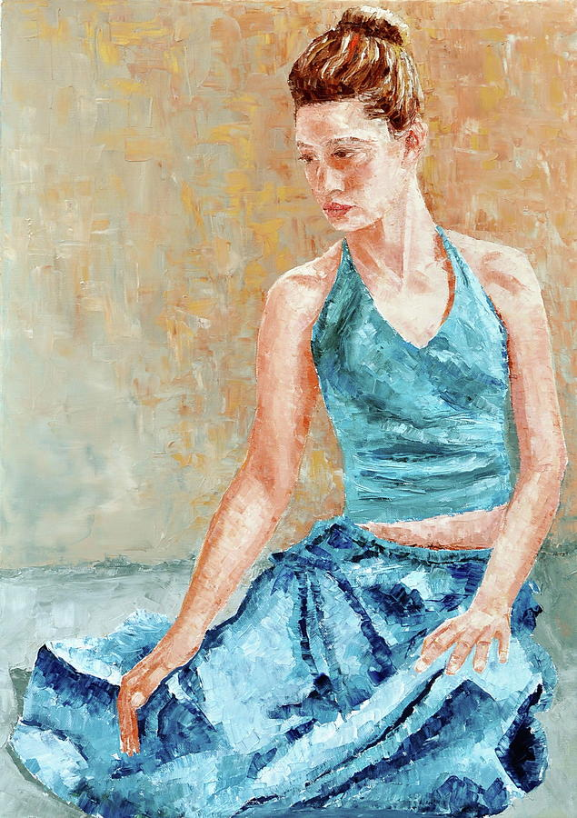 Lady Painting - Dreamer In Blue by Beata Belanszky-Demko