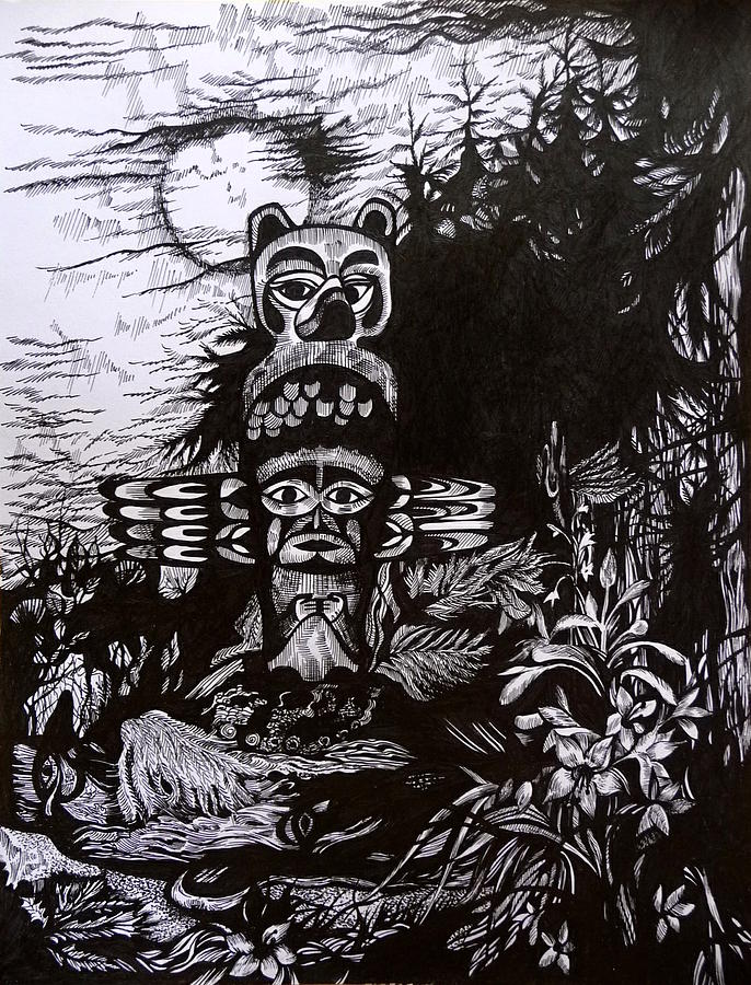 Pen And Ink Drawing - Dreaming Alaska. Part Two by Anna  Duyunova