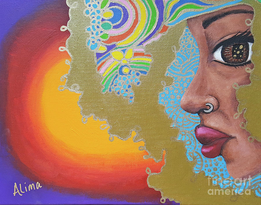 African American Painting - Dreaming by Alima Newton