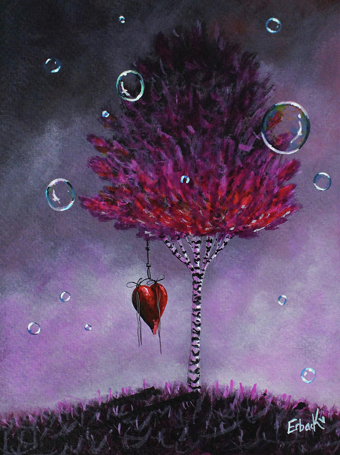 Dreaming Is Beautiful - Pink Tree Painting by Erback Art