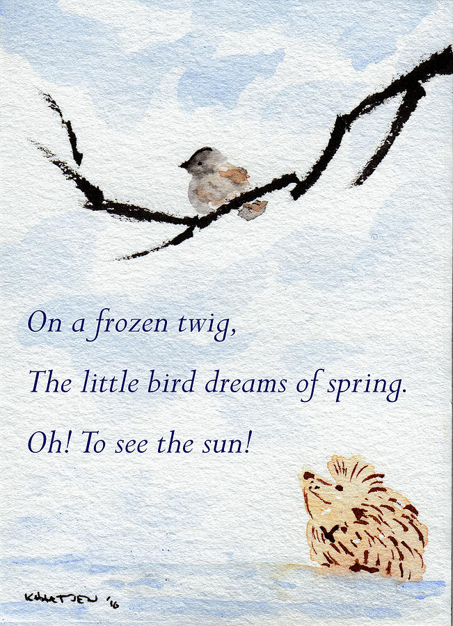 Hedgehog Painting - Dreaming Of Spring - Hedgehog Haiku 5 by Kerry Hartjen
