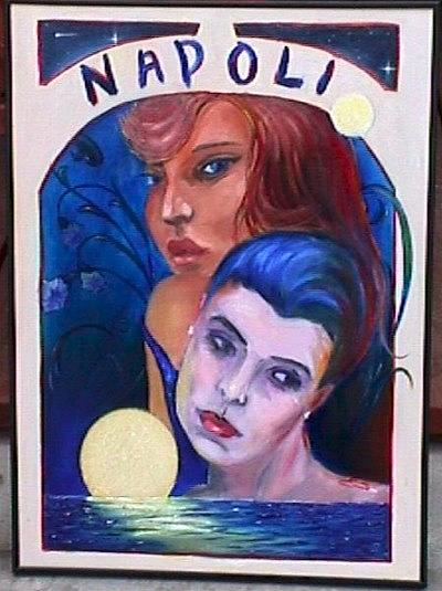 Portrait Painting - Dreaming of the Moon on the Napolitan Bay by Janine Shideler
