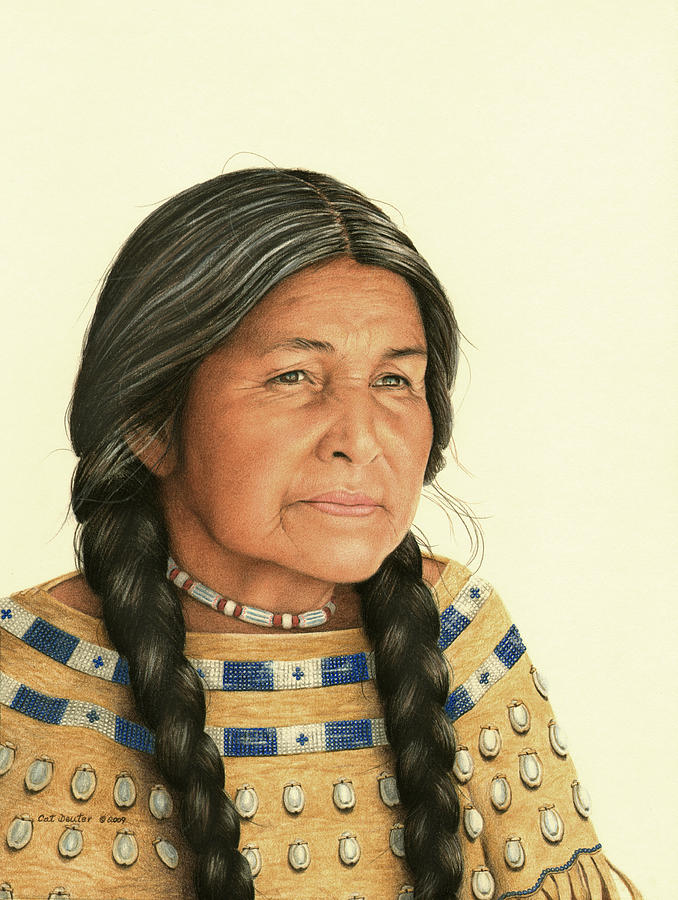Portraits Drawing - Dreaming Of The Old Days by Cat Deuter