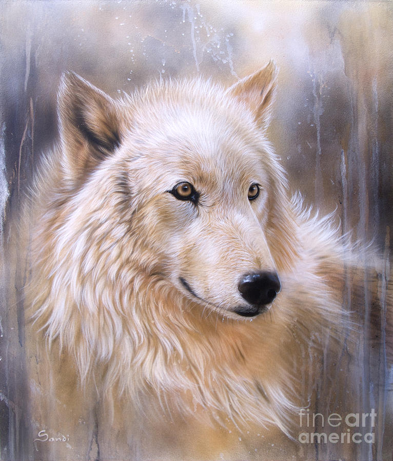 Wolf Arctic Painting - Dreamscape - Wolf II by Sandi Baker
