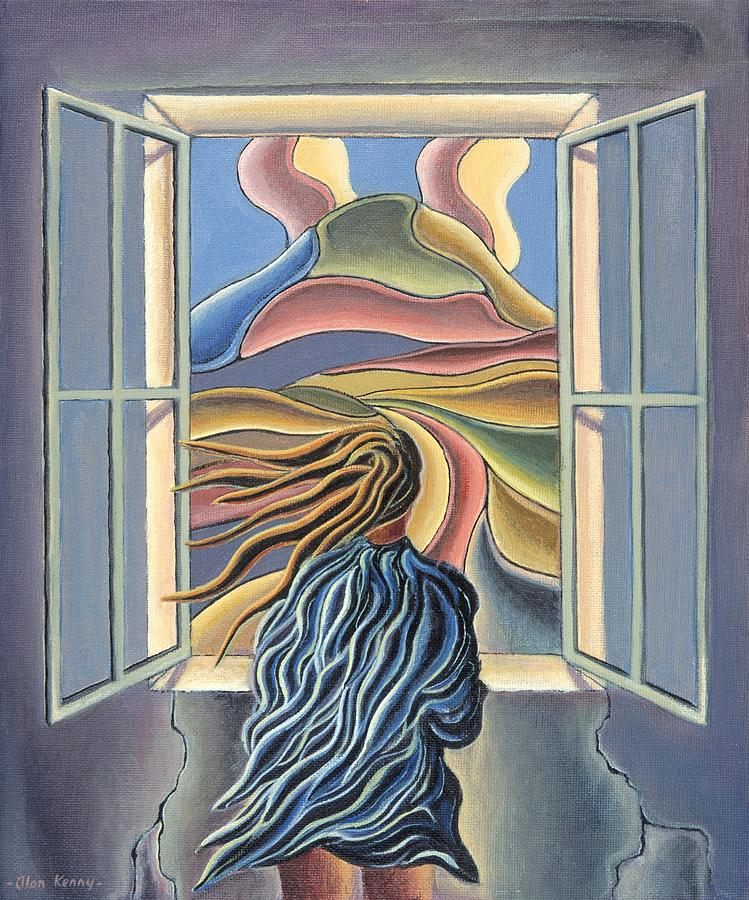 dreamscape with girl by window by Alan Kenny