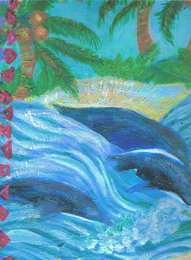 Dolphins Painting - Dreamy Dolphins by Anne-Elizabeth Whiteway