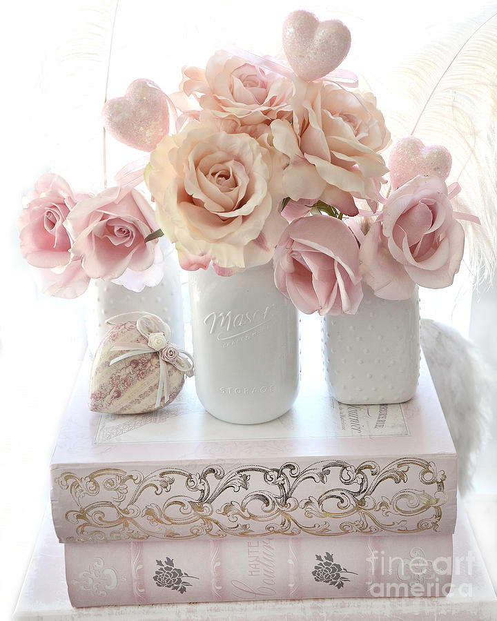 dreamy pastel shabby chic peach and pink white roses cottage shabby chic roses white mason. Black Bedroom Furniture Sets. Home Design Ideas