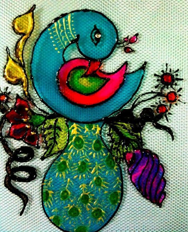 Glass Painting - Dreamy Peacock by Juwala Padma Lakshminarayanan