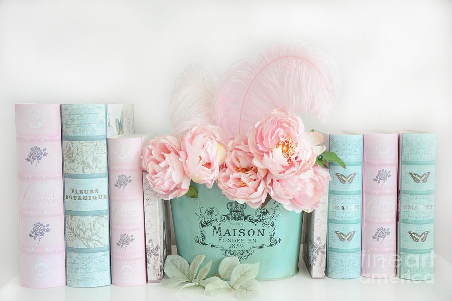dreamy shabby chic paris peonies books print pink teal peonies and rh fineartamerica com