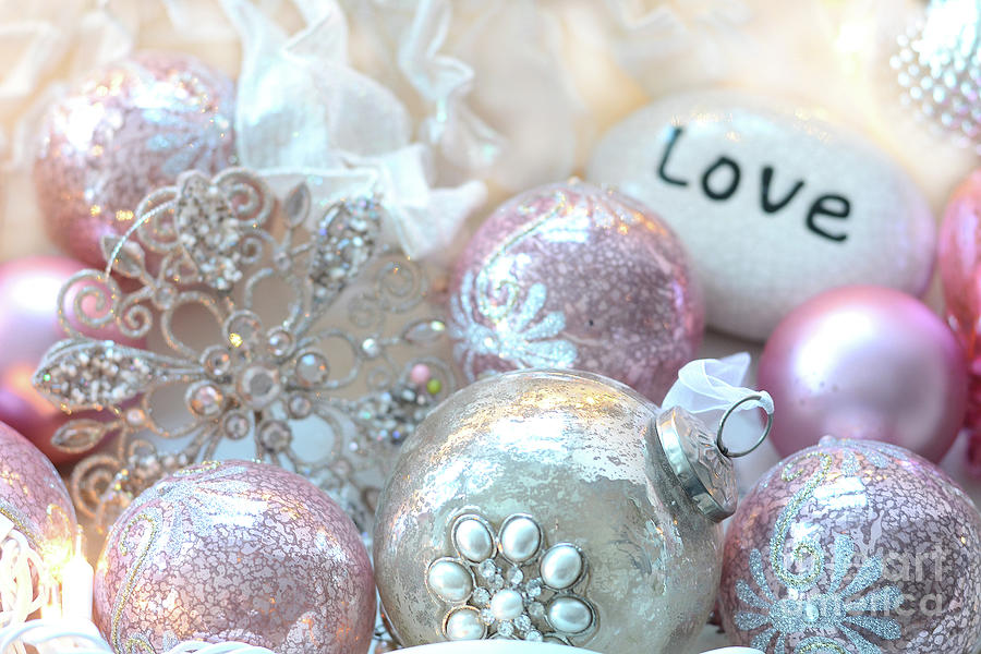 Dreamy Shabby Chic Pink Silver Sparkling Holiday Christmas ...