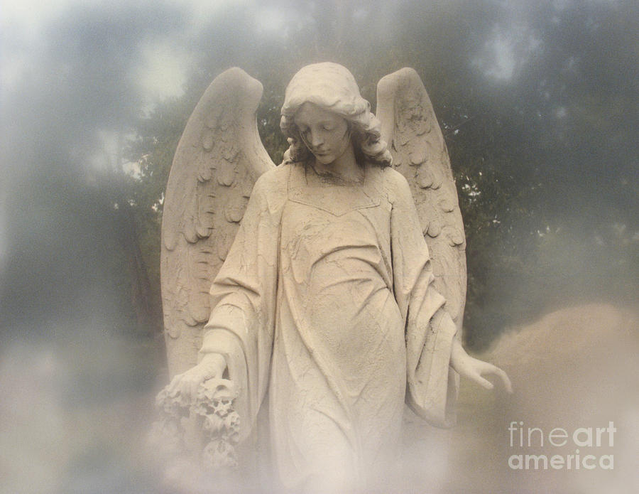 Dreamy Surreal Angel Art Fog Cemetery Photograph by Kathy Fornal