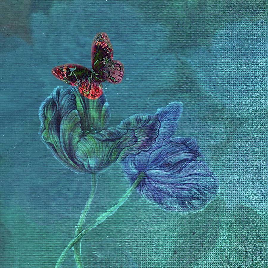 Dreamy Tulip with Gemlike Butterfly by Judith Cheng