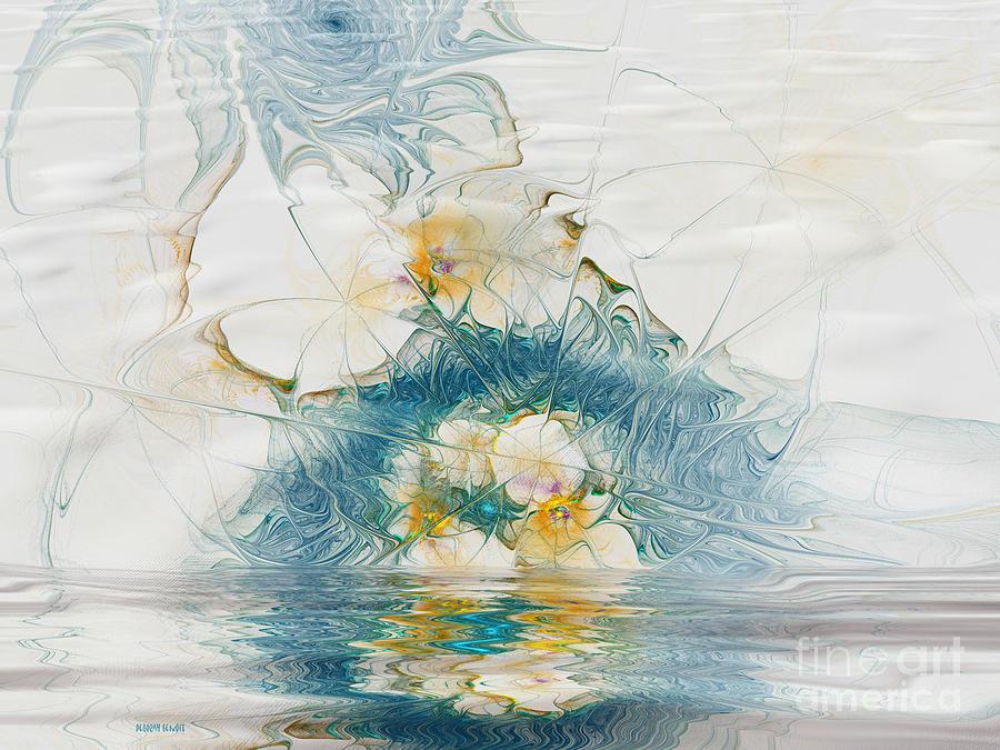 Fractal Digital Art - Dreamy World In Blue by Deborah Benoit