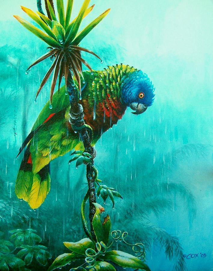 Chris Cox Painting - Drenched - St. Lucia Parrot by Christopher Cox