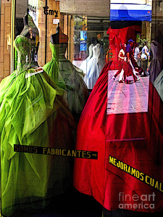 Mexico Photograph - Dress Shop Passerbys by Mexicolors Art Photography