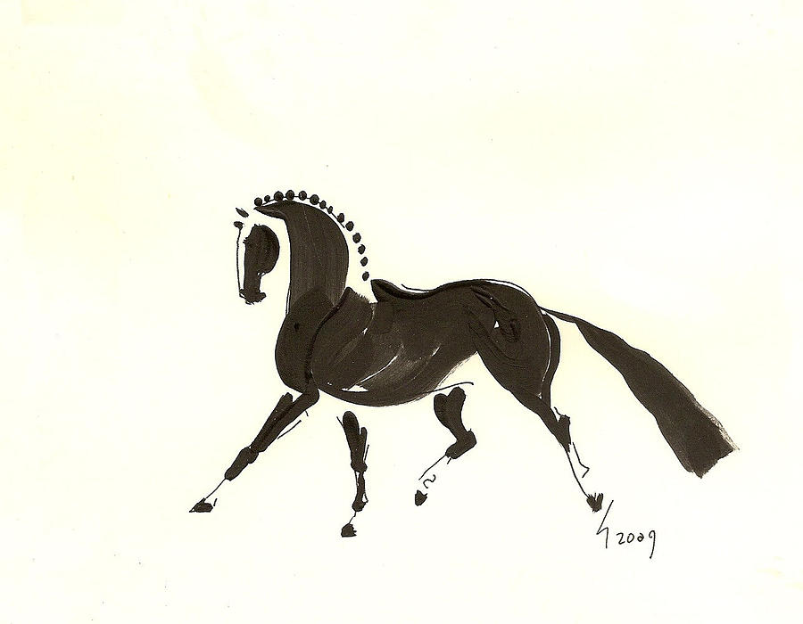Dressage Horse Painting - Dressage Trot by Liz Pizzo