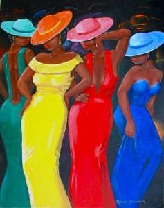 Black Women Painting - Dressed For The Ball by Romeo Downer