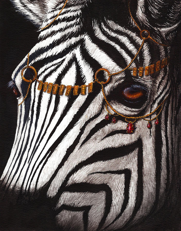Zebra Painting - Dressed In Gold And Rubies by Danielle Trudeau