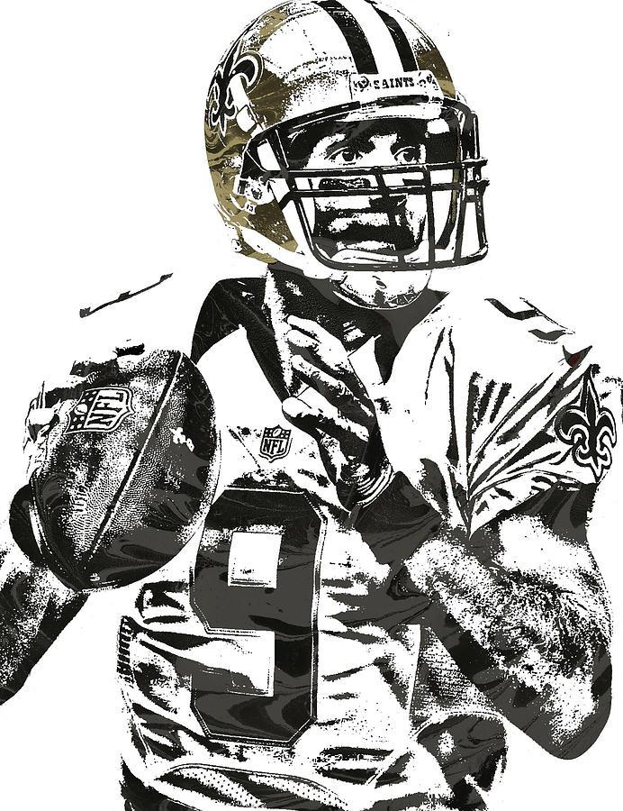 Drew Brees New Orleans Saints Pixel Art 1
