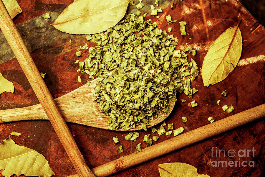 Herbs Photograph - Dried Chives In Wooden Spoon by Jorgo Photography - Wall Art Gallery