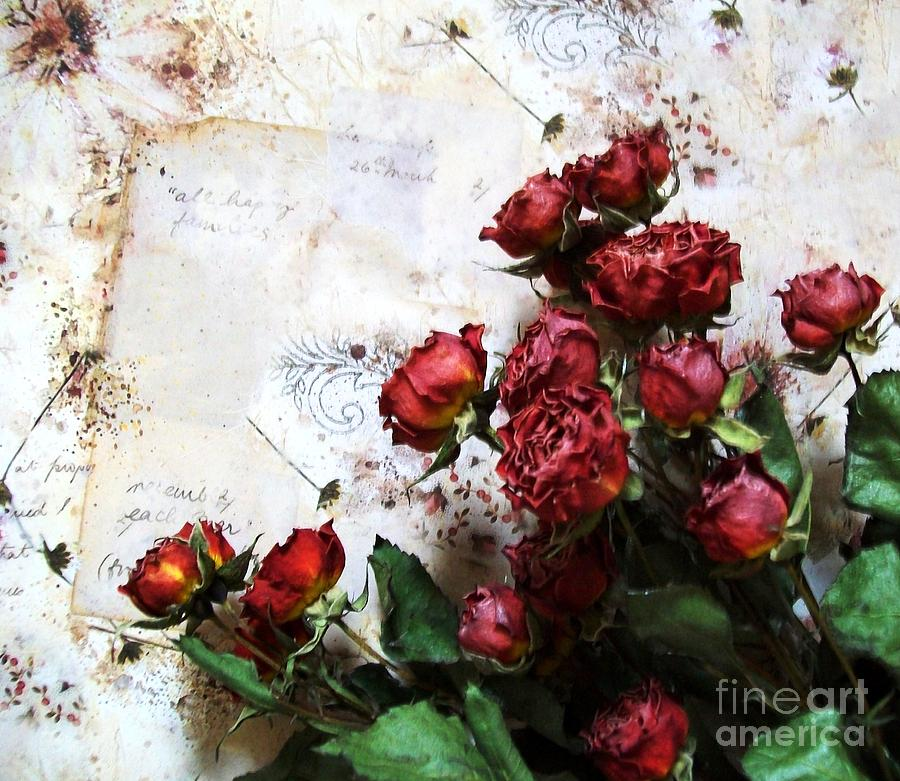 Red Photograph - Dried Flowers Against Wallpaper by Marsha Heiken