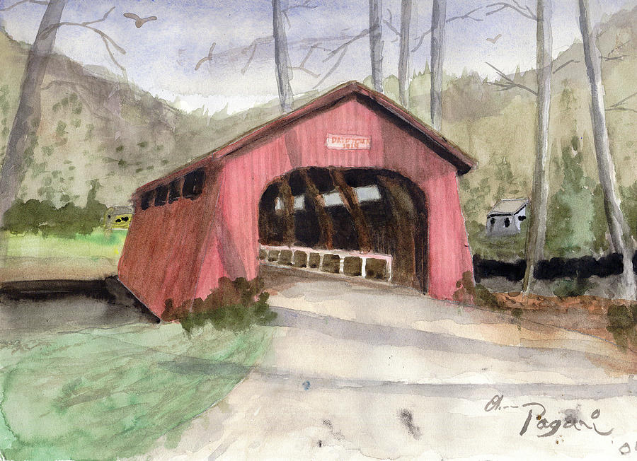 Drift Creek Covered Bridge Watercolor by Chriss Pagani