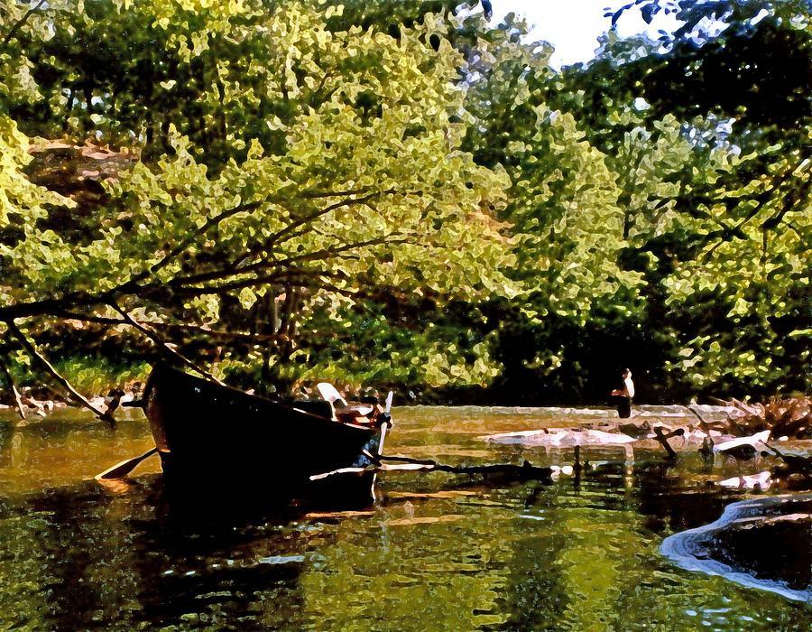 Water Digital Art - Driftboating by Michael Thomas