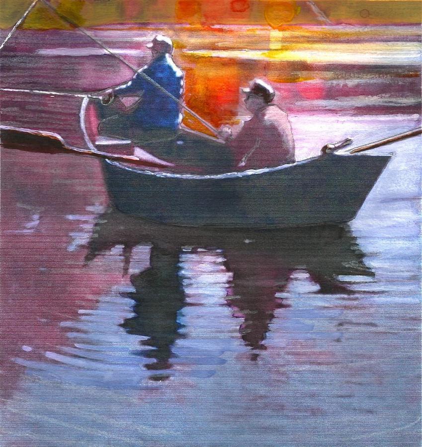 Drifting Fisherman Painting by Joseph Barani