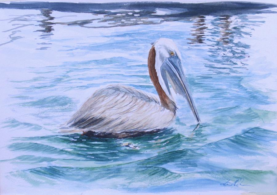 Pelican Painting - Drifting by Lane Owen
