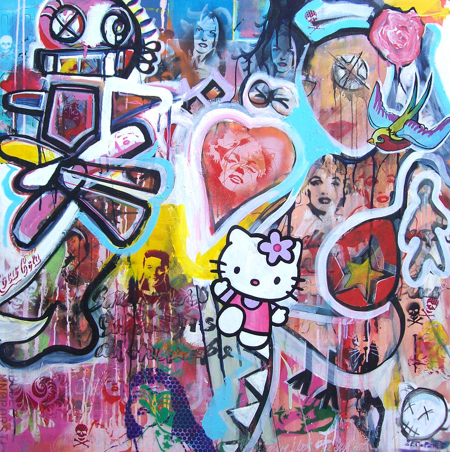 Hello Kitty Painting - Drifting Through A Paper Cup by Peter Walker