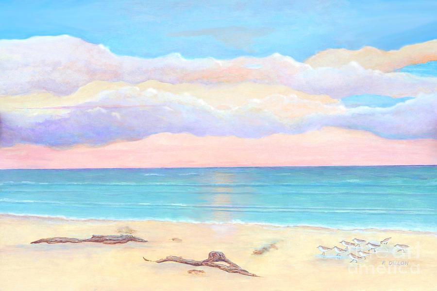 Ocean Painting - Driftwood Beach by Frances  Dillon
